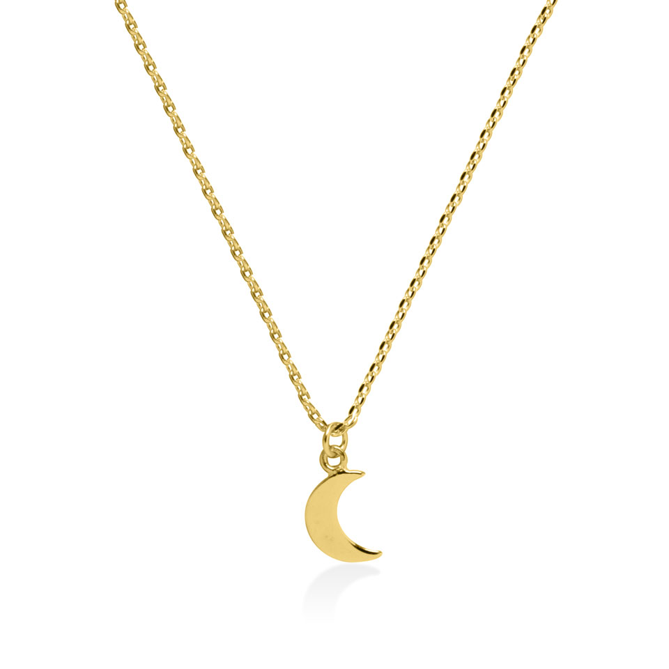Bali chain necklace gold plated half moon