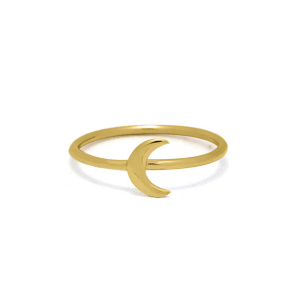 Moon gold plated on sterling silver ring handmade by Fomo bali