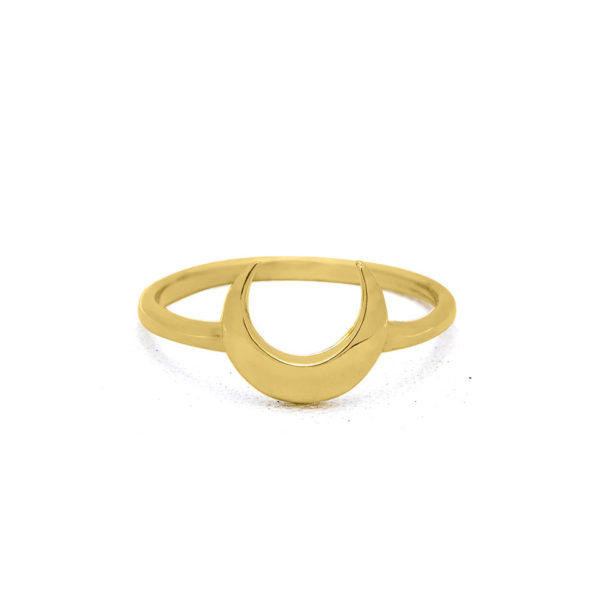 Moon crescent gold plated on sterling silver ring handmade by Fomo bali