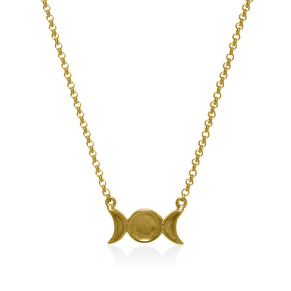 Triple moon gold plated on sterling silver necklace handmade by Fomo bali